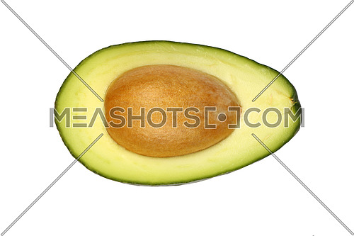 One fresh green ripe avocado (Persea gratissima) half with pit stone isolated on white, detail, close up, elevated top view, high angle