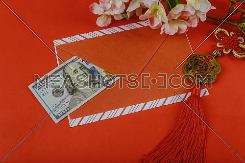 Red envelope with dollar for Chinese New Year in red background, Happy Chinese new year concept