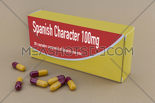medicine packet labelled spanish character closed, it's a medical fake product, isolated on brown