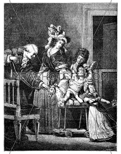 Old engraved illustration of The Happy Family drawing by Pauquet, based on Philibert-Louis Debucourt, 1874. Drawing of two woman, a man and two children playing on a horse. Le Magasin Pittoresque - 1874