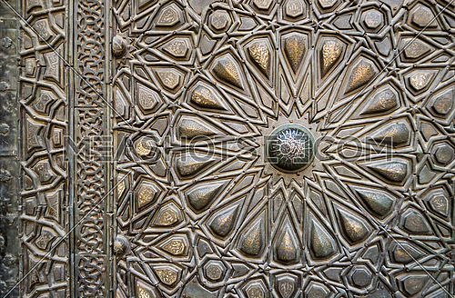 Ornaments of the bronze-plate door of Sultan al-Zahir Barquq, Old Cairo, Egypt