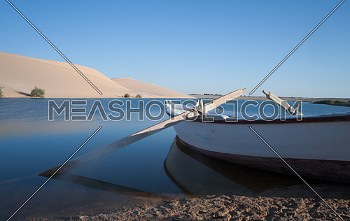 A rowing boat in a lake Fayoum, Egypt