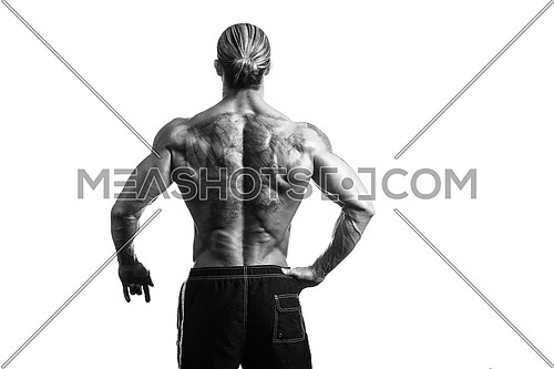 Back Rear View Tattooed Male On Isolated White Background