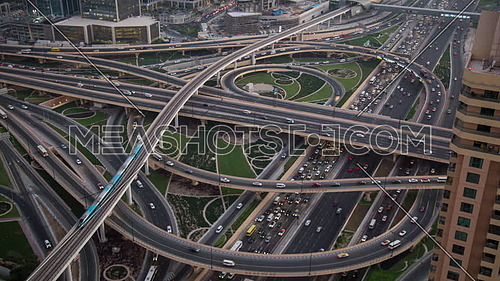 Top shot Timelapse for Traffic on Shaikh Zayed Bridges at Dubai City at Day