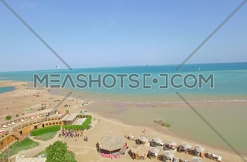 Jip up using Drone shot Al Gouna beach for Kite Surfing area  at Day