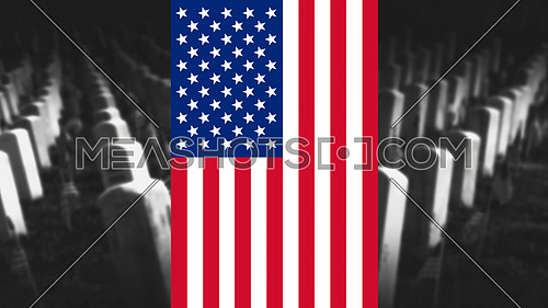Memorial Day United States of America . American Flag With Cemetery and Gravestones in Background 3D illustration