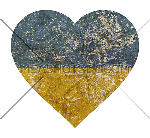 Heart shaped old grunge vintage dirty faded shabby distressed Ukraine or Ukrainian republic national flag isolated on white background