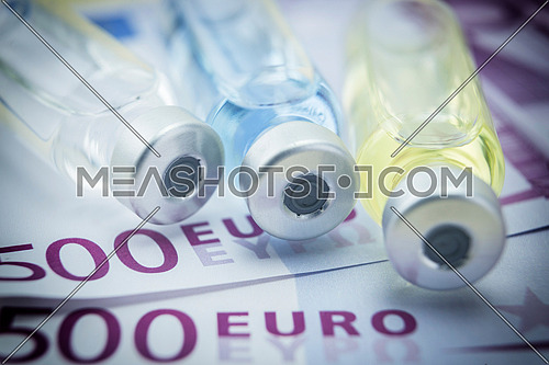 capsules up ticket euro, concept of health copay