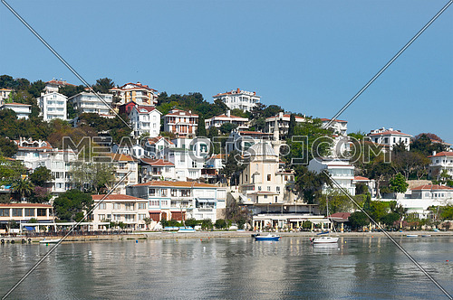 View of Burgazada island from the sea with summer houses and a small mosque. the island is the third largest one of four islands named Princes' Islands in the Sea of Marmara, near Istanbul, Turkey