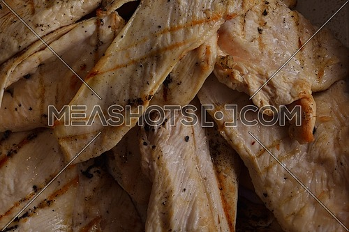 chicken grill food meat sliced isolated on white background