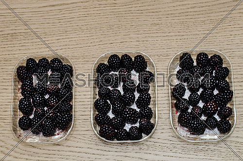 3 boxes of fresh blackberry fruit ready for sale