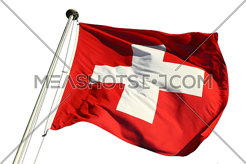 Flag of the Federal State of Switzerland flapping in the wind isolated against a white background