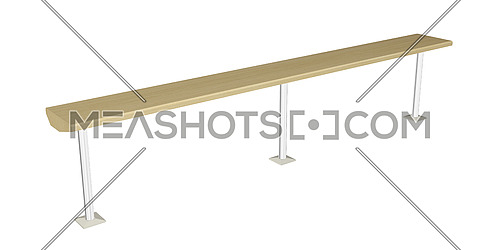 Balance beam or wooden rail, wooden with metal posts, 3D illustration
