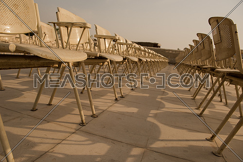 rows of seats at giza pyramids in egypt