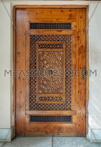 Wooden engraved door with geometrical engraved patterns, Cairo, Egypt
