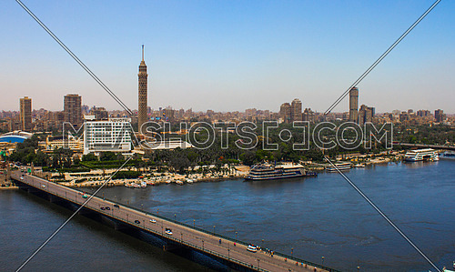 A view showing the nile and Cairo Tower