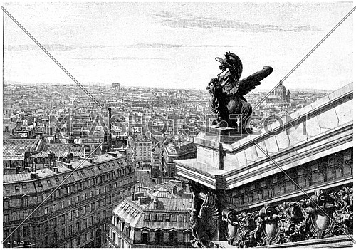 View west of Paris, taken from the top of the opera, vintage engraved illustration. Paris - Auguste VITU – 1890.