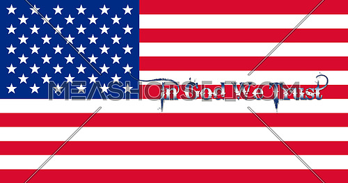 United States of America Flag With Text 3D illustration