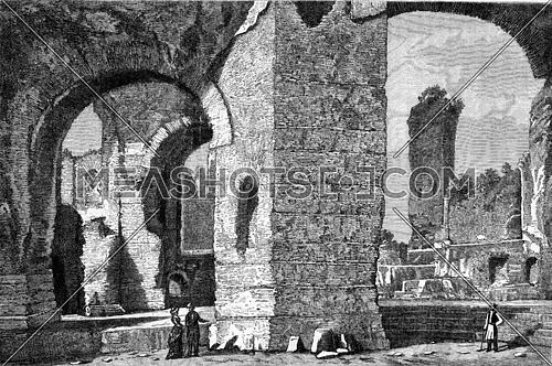 The Baths of Caracalla in Rome, vintage engraved illustration. Magasin Pittoresque (1882).