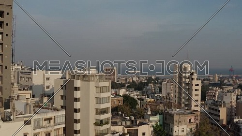 Drone shot showing Beirut city in Lebanon