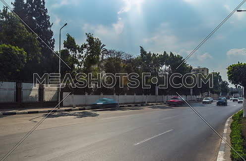 Track Left Shot for traffic at Salah Salim Street at Daytime
