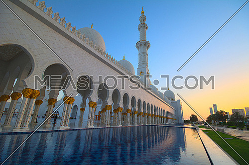 Side Shot for Sheikh Zayed Grand Mosque in Abu Dhabi