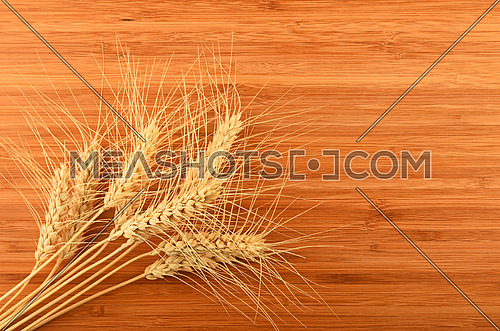 Wooden bamboo cutting board with nine wheat ears, add your text