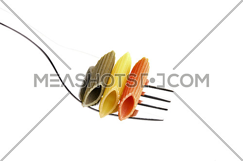 italian penne pasta on a fork ,on white background