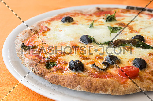 typical italian pizza with mozzarella, tomato cherry and olives  on white plate.