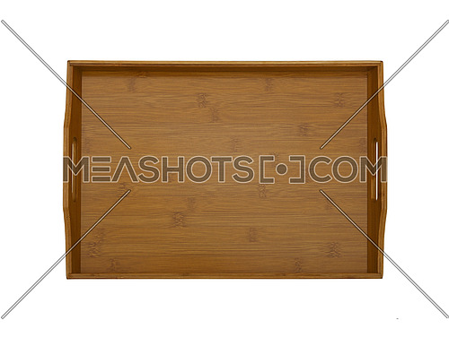 Close up one natural bamboo wooden food serving tray isolated on white background, elevated top view, directly above