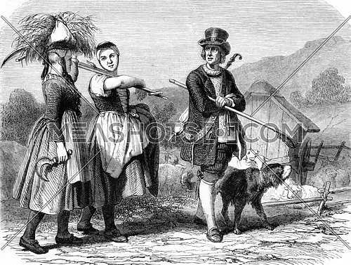 Costumes of Baden, vintage engraved illustration. Magasin Pittoresque 1857.