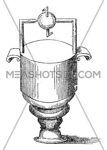 Sphere rotating by the reaction of steam, vintage engraved illustration. Magasin Pittoresque 1847.