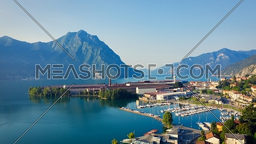 Aerial view of Lake Iseo , on the right the port of lovere,background mountains(alps), Bergamo Italy.