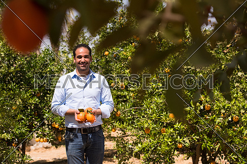 Portrait of a young middle eastern man on the farm of orange with a smile on his face on a sunny summer day