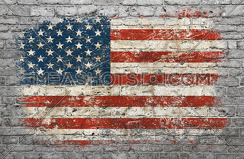Grunge distressed flag of USA painted on old weathered grey brick wall