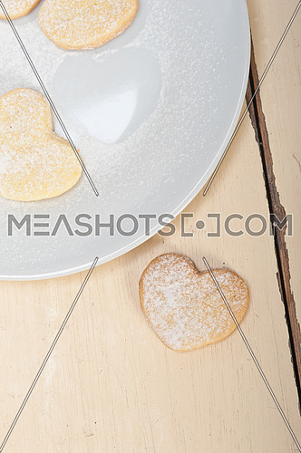 fresh baked heart shaped shortbread valentine day cookies