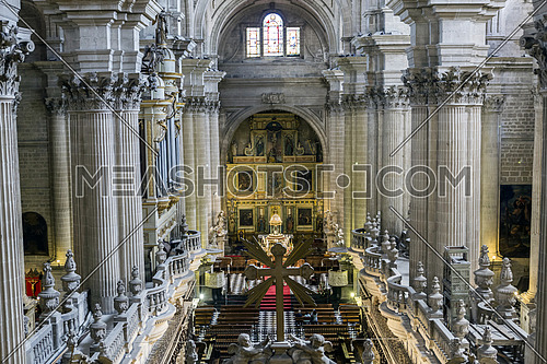 Jaen, Spain - may 2016, 2: Inside view of the Cathedral in Jaen, also called Assumption of the Virgin Cathedral, Masterpiece of Andres de Vandelvira, In its interior is custody, among other works of art and religious objects, take in Jaen, Spain