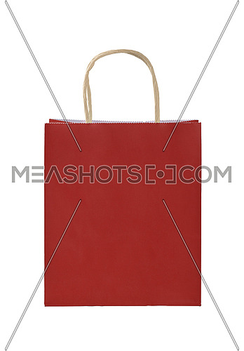Close up one natural red paper shopping or gift bag isolated on white, low angle front view