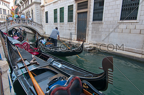 Venice Italy Gondolas on canal , most famous boat