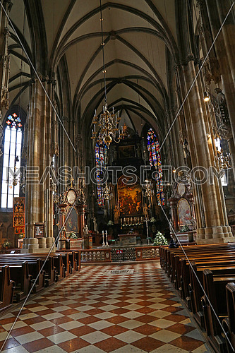 Interior view of famous Saint Stephen Cathedral (Stephansdom), the biggest cathedral and most important religious building in Vienna, Austria, personal perspective
