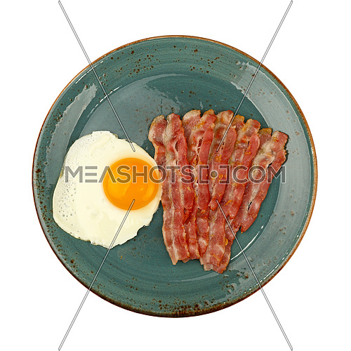 Close up English breakfast, sunny side egg and roasted bacon slices on blue plate isolated on white background, elevated top view, directly above