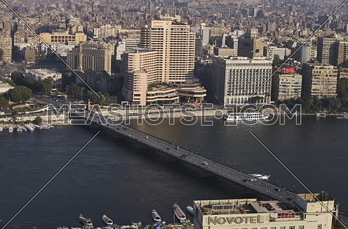 Top long shot for kasr el nile bridge, Cairo, Egypt