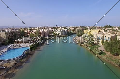 Jip Up Drone shot flying above Al Gouna at Day