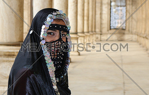 Girl wearing old Egyptian women costumes - Mohamed Ali mosque - Cairo