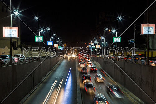 Long Shot for traffic from above  Al Thawra Tunnel at Night