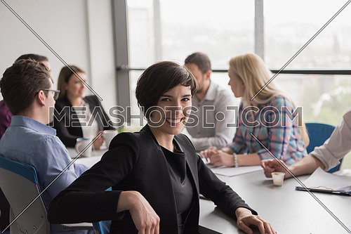 Portrait Of Successful Businesswoman Entrepreneur At Busy startup Office