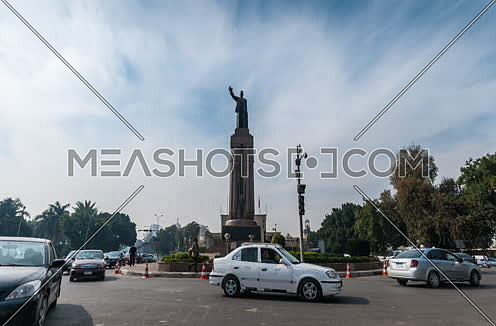 Zoom In shot for Saad Zaghloul Statue at Cairo at Day