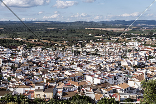 "Almodovar del Rio, Cordoba, Spain - June 9, 2018: View from the castle town of Almodovar del Rio, a Stage of the American producer HBO, for the series ""Game of Thrones"". placed close to the Guadalquivir, take in Almodovar of the Rio, Cordoba province, Andalusia, Spain"
