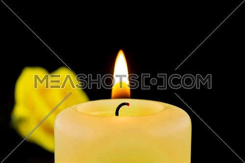 Single burning yellow candle next to rose against dark background