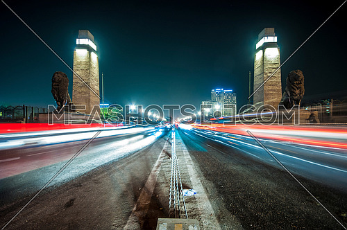 Panorama shot Qasr Al Nile Bridge at Night